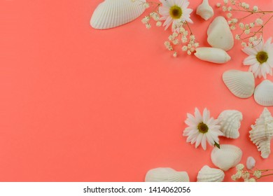 Seashells and flowers in shades of white forming a border on a coral colored background with copy space. Good for summer themes, weddings and anniversaries.