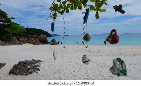 Seashells hanging on strings for decoration. Hanging seashells decoration at TAFOOK ISLAND or Dunkin Island,andaman sea, Myanmar.