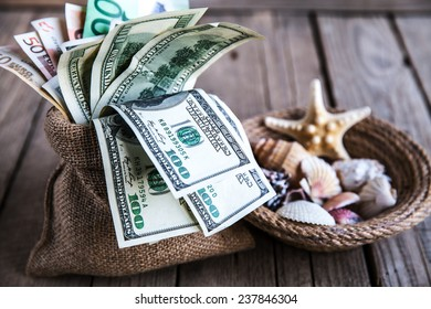 Seashells with money / holiday money