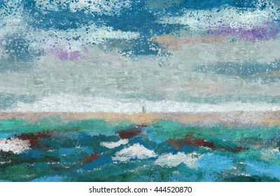 Seashore abstract background Abstract painting, color spots, blue and turquoise.