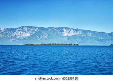 Seashore landscape. Mountain landscape