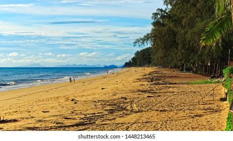 seashore and tree lines at sandy Klong Nin beach, aka Long Beach