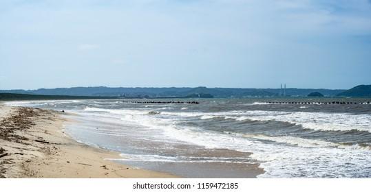 seaside beach panoramic view in Karatsu city, Japan