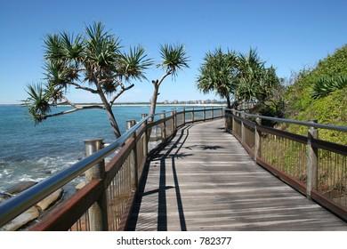 Seaside boardwalk at Caloundra, Sunshine Coast, Australia