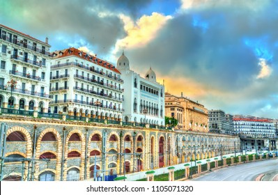 Seaside boulevard in Algiers, the capital of Algeria. North Africa