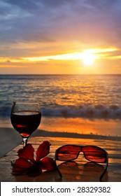 Seaside Exotic Cocktail Scene at Sunset