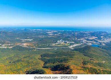 seaside of Gangwondo province viewed from Seoraksan National Park, Republic of Korea
