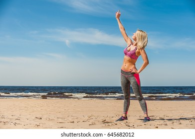 Seaside gymnastics woman
