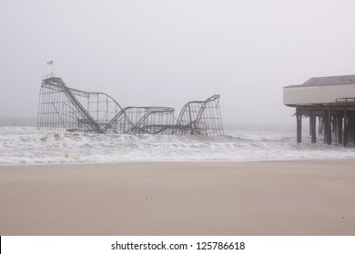 SEASIDE HEIGHTS, NJ - JAN 13: The Casino Pier Star Jet roller coaster submerged in the sea on January 13, 2013 in Seaside Heights, NJ. Clean up continues 75 days after Hurricane Sandy struck in 2012.