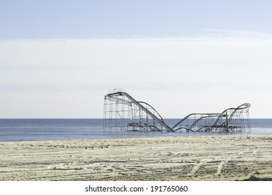 SEASIDE HEIGHTS, NJ - JANUARY 6: The Jet Star roller coaster in the Atlantic Ocean just a few months after Hurricane Sandy.  Photo taken January 6, 2013.
