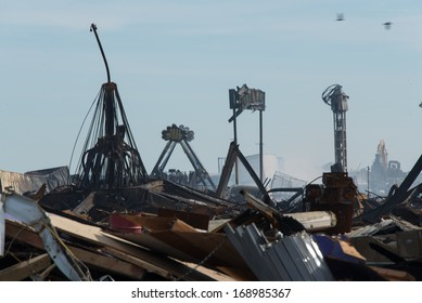 SEASIDE HEIGHTS, NJ - SEPTEMBER 15, 2013: The aftermath of the September 12, 2013 Seaside Heights boardwalk fire.