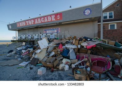 SEASIDE HEIGHTS, NJ/USA - JANUARY 18: Debris caused by hurricane Sandy damage is piled outside a boardwalk arcade on January 18, 2013 in Seaside Heights, New Jersey.