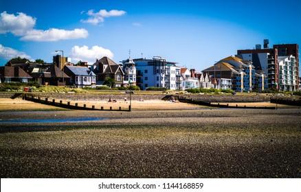seaside houses near the beach in Chalkwell, UK