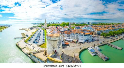 Seaside of La Rochelle dominated by Tour de la Lanterne and tour de la chaine, France