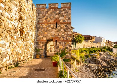 Seaside landscape - fortress wall and tower in the city of Sozopol on the Black Sea coast in Bulgaria