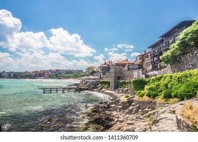 Seaside landscape, panorama, banner - view of the embankment with fortress wall in the city of Sozopol on the Black Sea coast in Bulgaria,Sozopol Bulgaria,May 29 2019