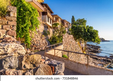 Seaside landscape - view on seafront in the town of Sozopol on the Black Sea coast in Bulgaria