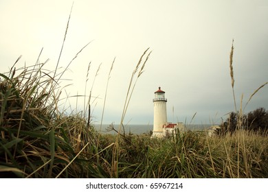 A seaside lighthouse overlooking the sea.