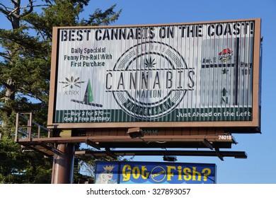SEASIDE, OREGON - SEP 28, 2015 - Legal marijuana, Billboard for 'Best Cannabis on the Coast' Seaside,  Oregon Coast