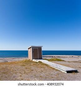 Seaside Outhouse near Point Riche Lighthouse, Port au Choix, Newfoundland, NL, Canada