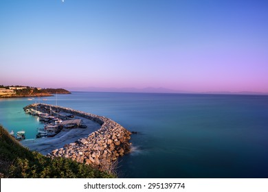 Seaside place at kusadasi - izmir - turkey and horizon