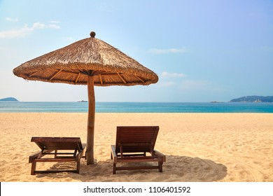 Seaside recliners in Yalong Bay, Sanya, Hainan Province