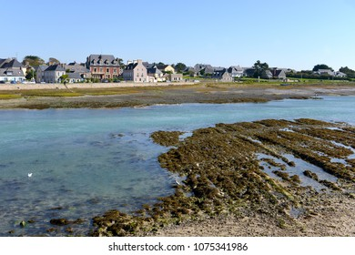 Seaside resort at low tide of Port-Bail or Porbail, a commune in the peninsula of Cotentin in the Manche department in Lower Normandy in north-western France