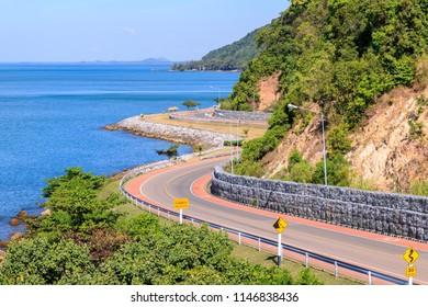 Seaside road highway from Noen Nangphaya View Point in Chanthaburi, east of Thailand
