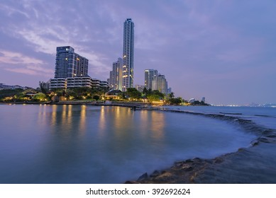The seaside town and landscape lighting and a beautiful beach at PattayaThailand & Seaside Town Landscape Lighting Beautiful Beach Stock Photo (Royalty ...