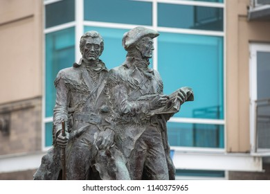 """Seaside, OR / USA - July 22 2018: Lewis and Clark """"End of the Trail"""" statue by the beach."""