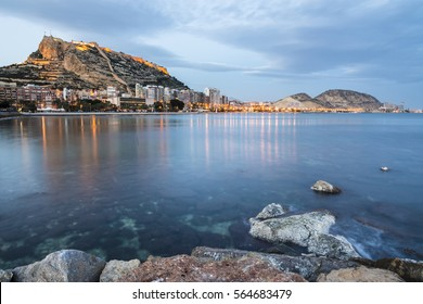 Seaside view of Alicante at dusk, Costa Blanca, Spain