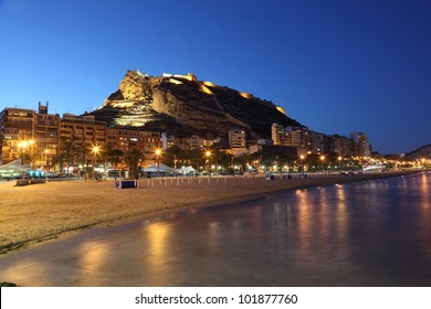 Seaside view of Alicante illuminated at night, Spain