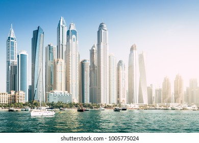 Seaside view of Dubai Marina skyline in 2017