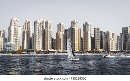 Seaside view of Dubai skyline