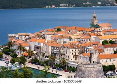 Seaside  view of Korcula town, Croatia, Korcula island.