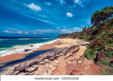Seaside view on Varkala beach. Varkala beach – one of finest India beaches.