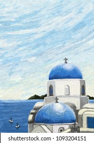 seaside view from Santorini, Greece, oil painting illustration