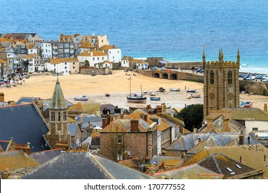 Seaside Village of St. Ives, Cornwall, UK. Roof top view of the harbor