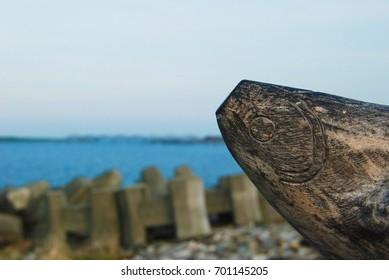 Seaside wooden carvings