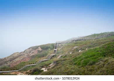 Seaside Wooden Stairs on foggy day