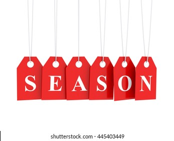 Season discounts text on red hanging labels and white background