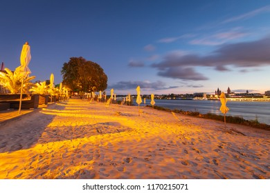 Season is over at city beach (Rheinstrand) in Mainz-Kastel with cityscape of Mainz in the background