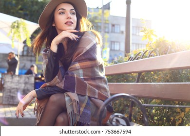 season and people concept - Autumn portrait of happy girl. Outdoor beauty portrait woman, fashion model, pretty girl, street style