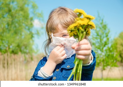 Seasonal allergy in a child. Coryza. Selective focus. nature