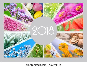 Seasonal Calendar for 2018 year. Creative collage. Quarterly calendar of accountant.