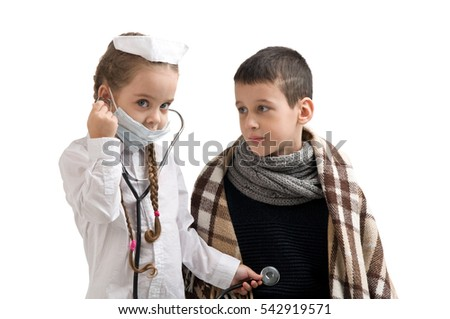 68b21d4b7d6a7 Seasonal Flu Epidemic Little Girl Nurse Stock Photo (Edit Now ...