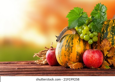 Seasonal harvested agriculture products on wooden planks with blur background