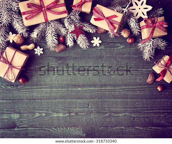Photo De Stock De Bordure De Noël Rustique Saisonnière