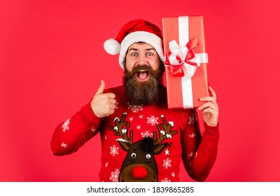 Seasonal sale. Decorate Christmas with joy. Perfect gift. Santa Claus wishes Merry Christmas. Bearded man feel festive. Enjoy xmas celebration. Christmas gift. Family tradition. December shopping.