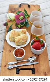 Seasonal spring tea time for Mother's Day brunch or easter celebration